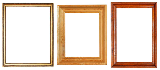 three wooden picture frames