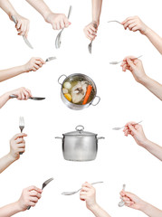 set of hand with kitchen utensil isolated on white