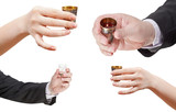set of hands with glass of spirits poster