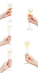 set of hand raises glass with champagne