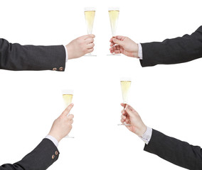 set of hand with raising of champagne glass