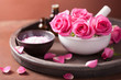 canvas print picture - spa set with rose flowers mortar essential oils salt