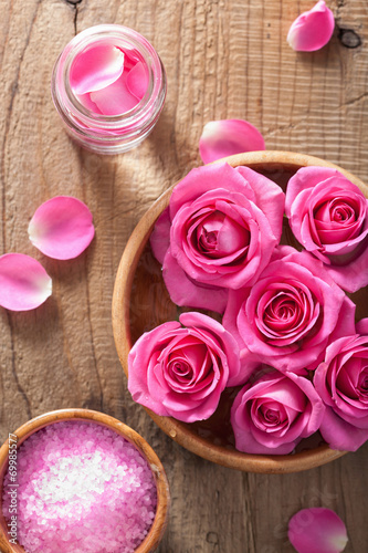 canvas print picture rose flowers petals herbal salt for spa and aromatherapy