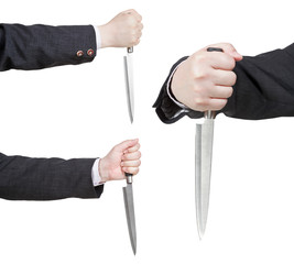 set of knife in businessman hand