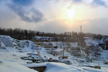 sunset over the quarry in winter