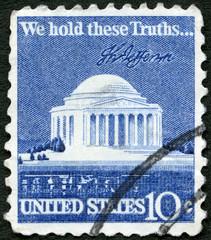 USA - 1973: shows Thomas Jefferson Memorial and Signature