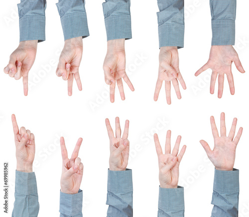 canvas print picture set of scoring female hands - gesture