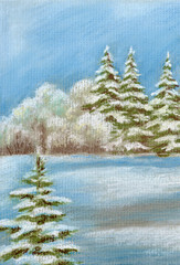Painting, winter forest
