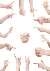 set of aggressive hand gesture