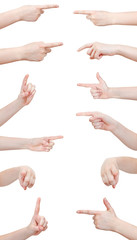 set of hand gesture with forefinger