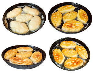 set of frying pan with few cooking patties