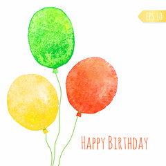 Card with colored watercolor paint balloons.