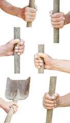 set of worker hand holds old shovel