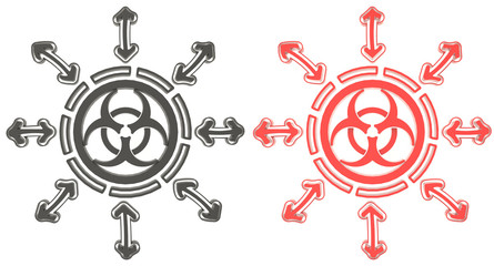 3D Red and black circle biohazard radiation symbol in isolated b