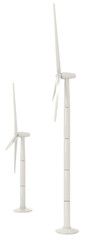 3D wind turbine for clean energy in white background