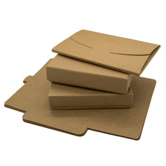 Foldable brown paper boxes and envelopes