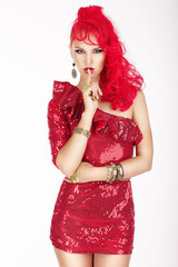 Secret. Woman with Red Hair and Dress showing Silence Sign