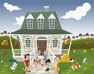 Cartoon family with pets in front of a country house