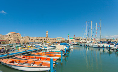 Port of Acre, Israel. with boats and the old city