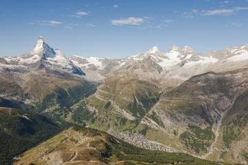 Zermatt, Bergdorf, Bergpanorama, Alpen, Sommer, Schweiz