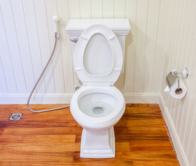 Good preparing of clean, white and sterile toilet in a white wal