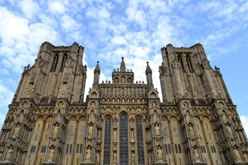 Facade from Wells cathedral and sky
