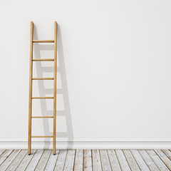 wooden ladder on white wall with vintage wooden floor