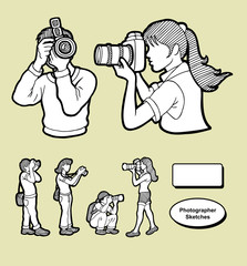 Photographer icons sketch.