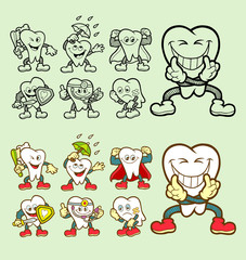 Set of tooth cartoon character icons