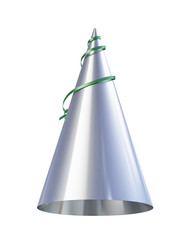 silver party hat isolated on white background
