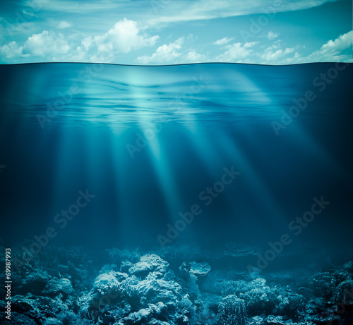 Leinwandbild Motiv Underwater coral reef seabed and water surface with sky
