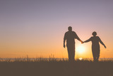 Senior couple holding hands silhouettes - 69988162