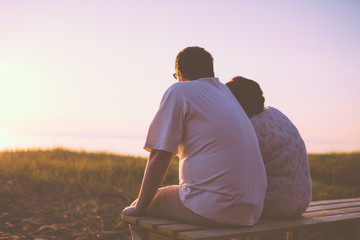 Senior couple enjoy the sunset together
