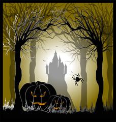 locandina con zucche per halloween
