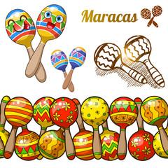 Set of colorful fun maracases