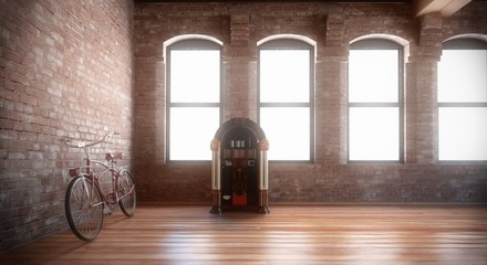 Bicicletta e jukebox in interno vintage