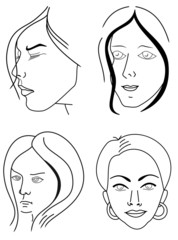 Set of woman faces