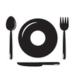 Plates, spoons, forks and knives(food icon,food symbol)