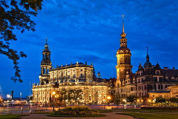 Dresden castle or Royal Palace by night, Saxony, Germany