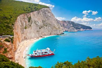 Turquoise Katsiki beach, on Lefkada, Greece.