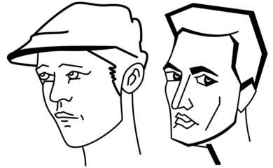 Cartooning faces of the man