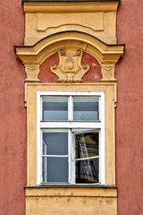 Window with pediment in Prague, Czech Republic