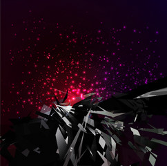 Explosion in space Background Vector illustration