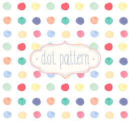 Vector Watercolor seamless dot pattern.