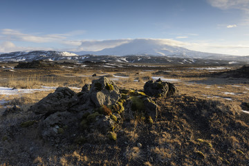 Volcanic landscape with Hekla volcan in background.