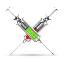Medical syringe realistic. vector illustration. Ebola concept.