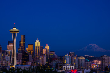 Seattle and Mount Rainier at Dusk