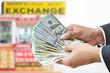 Hand holding US dollar bills - money exchange concept