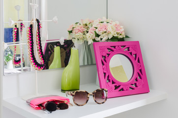 female accesories on dressing table