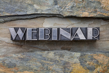 webinar word in metal type